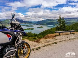 bmw motorcycle and croatian coast blue day